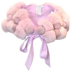 Oscar De La Renta Pink Fox Fur Bolero Shawl Cape
