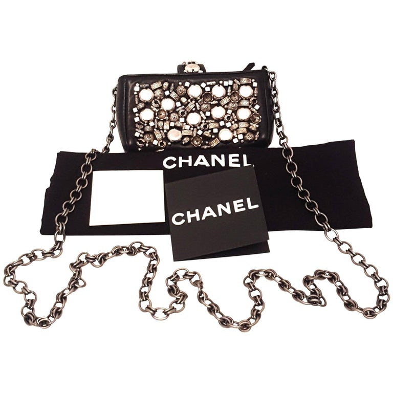 Chanel Black Leather Metal Enhanced Mini Bag with Long Chain Shoulder Strap