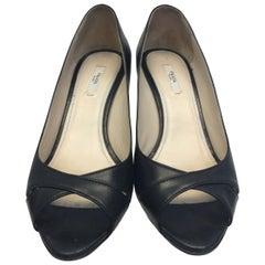Prada Black Leather Peep Toe Wedge