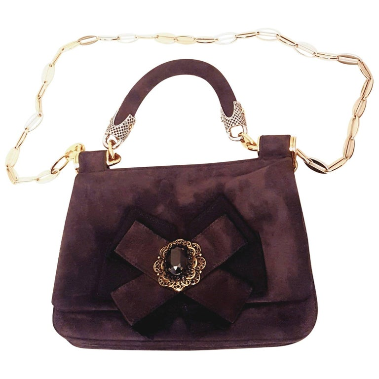 Dolce & Gabbana Brown Suede w/ Bow & Stone Accent Shoulder Bag
