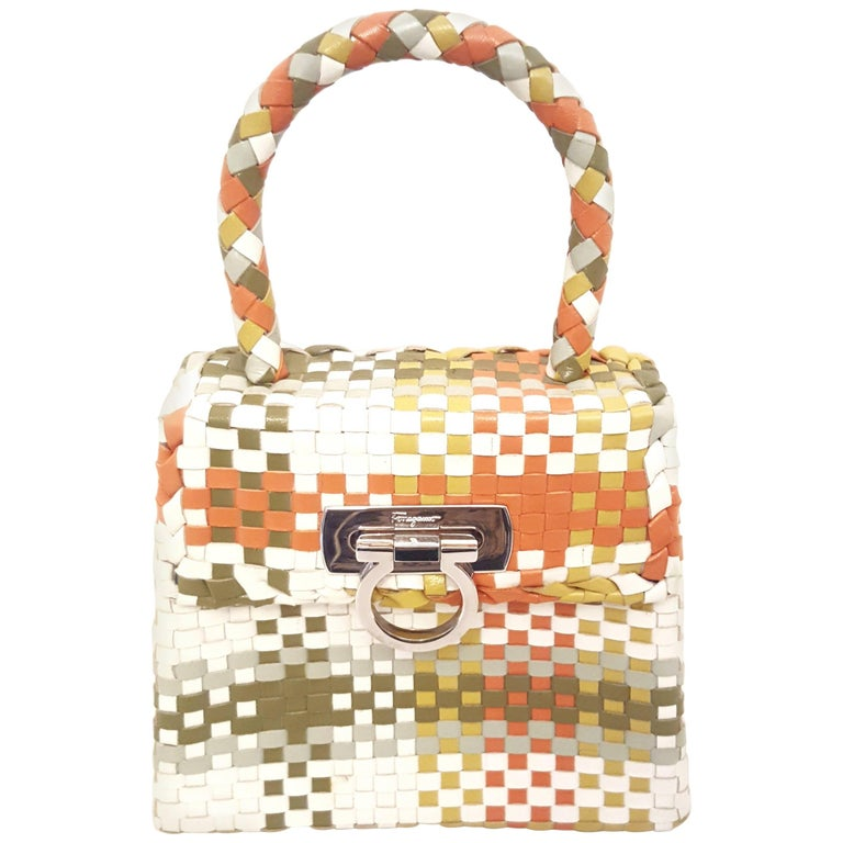 d53c4bf20fc8 Salvatore Ferragamo Multicolor Leather Gancini Woven Top Handle Structured  Bag For Sale at 1stdibs