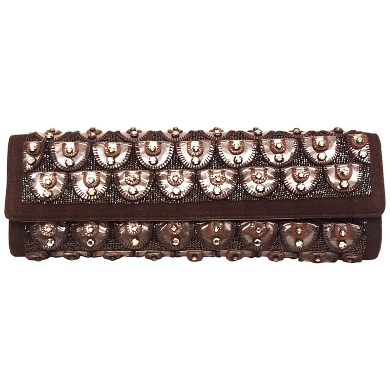 Roberto Cavalli Bronze Crystal Decorated Clutch Bag w Removable Rope Chain Strap For Sale