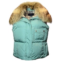 Burberry Seafoam Green Vest with Raccoon Collar Sz L
