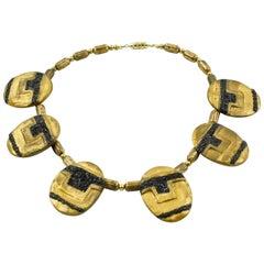 Rare Artist Designer Eileen Aubi Gilt Resin Sculpture Choker Necklace