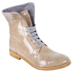 Brunello Cucinelli Grey Patent Leather Brogue Lace Up Boots