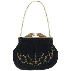 French 1950's Black Satin Embroidered Evening Handbag