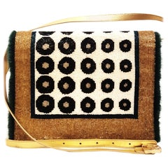 Fendi Gold Tone Leather with Beaded Multicolor Flap Bag