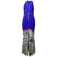 Vera Wang Silk Blue Hi-Low Gown Sz 8