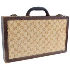 Vintage Gucci Travel Backgammon Set Rare GG Logo Canvas Leather Trim 1960s