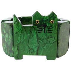 Marie Christine Pavone Green Marbled Cat Bakelite Bracelet