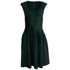 Alaia Green Velvet Fit & Flare Dress Sz FR40