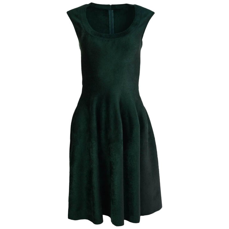 Alaia Green Velvet Fit & Flare Dress Sz FR40 For Sale