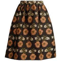 1960s Vintage Silk Jacquard Woven Floral Tapestry Skirt in Brown, Coral + Green