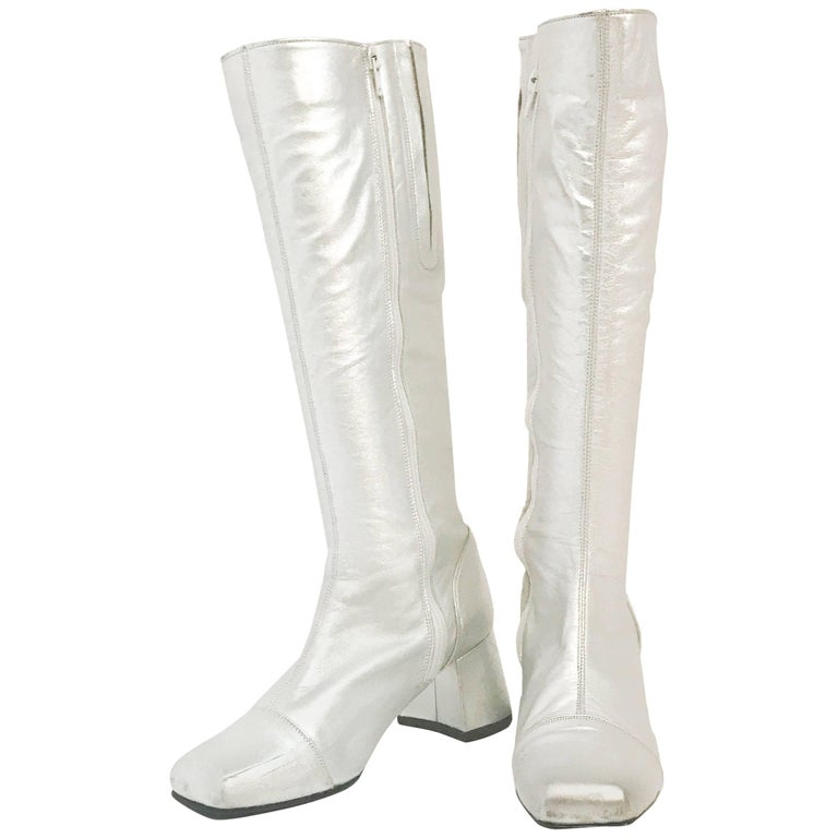 Late 1960s Silver Leather Go Go Boots For Sale At 1stdibs