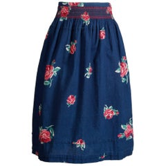 1970s Kenzo Vintage Blue Denim Chambray Jeans Skirt with Floral Rose Print