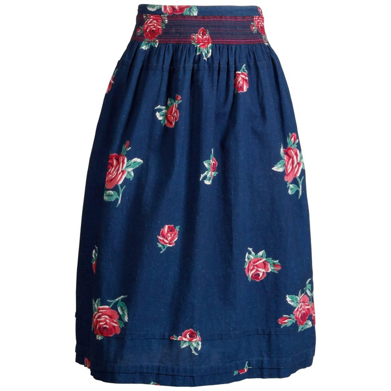 2efe064c75 1970s Kenzo Vintage Blue Denim Chambray Jeans Skirt with Floral Rose Print  For Sale