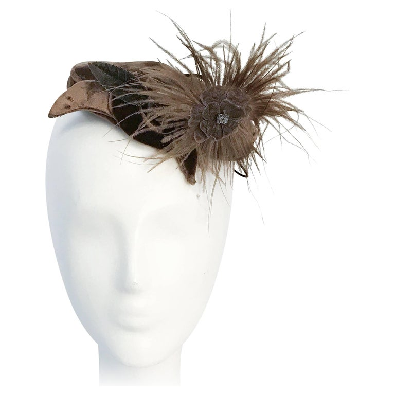 1950s Taupe Rayon Velvet Hat with Feathered Flower