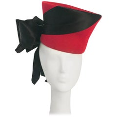 1940s Flora Weiler Rhubarb Red Tilt Hat with Satin Ribbon