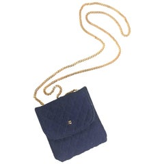 MINT. Vintage Chanel navy quilted jersey mini pouch, coin purse, long necklace.