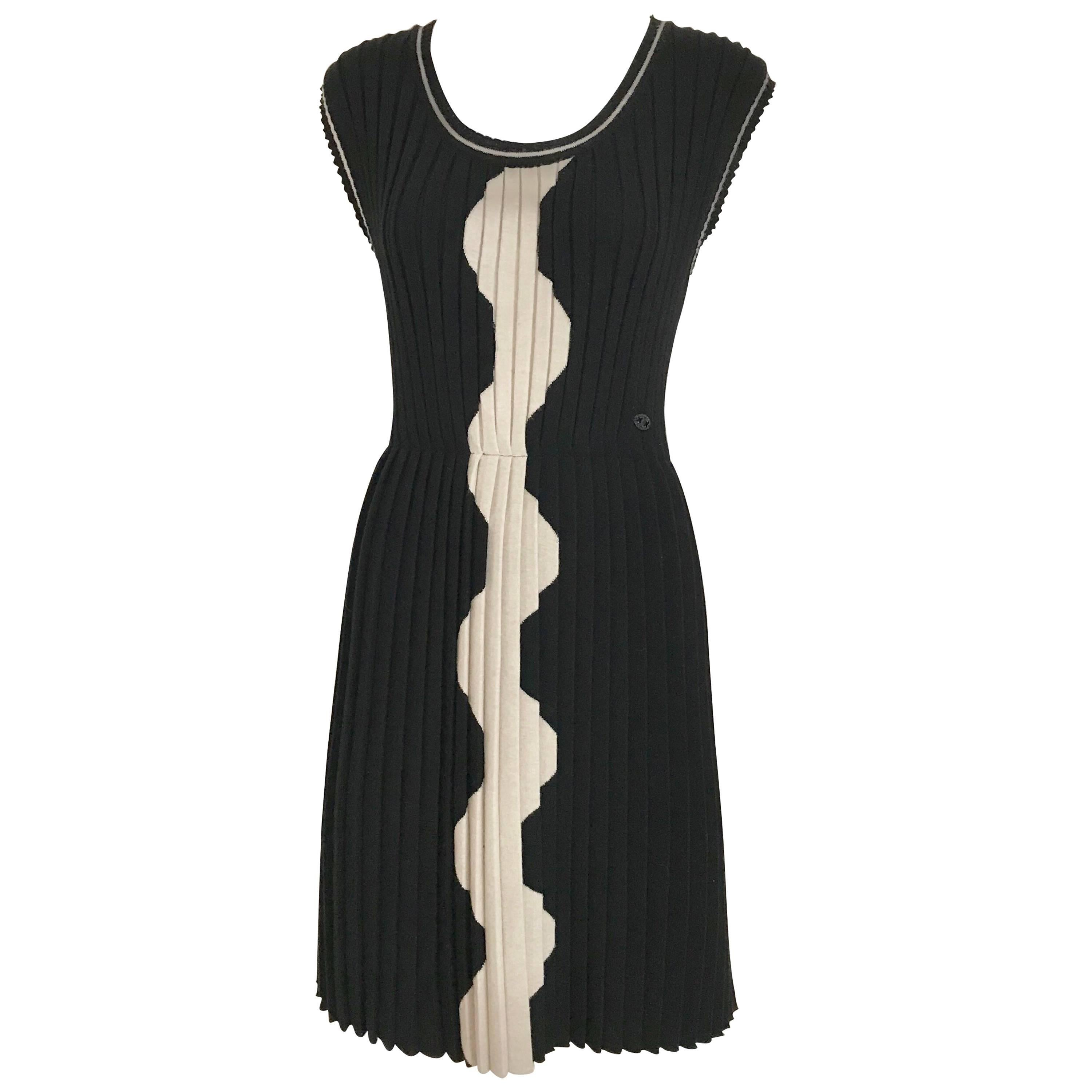 Chanel Black and Creme Knit Dress