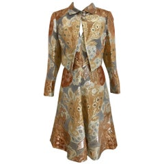 1970s Pauline Trigère Gold Metallic Brocade Dress Jacket Set