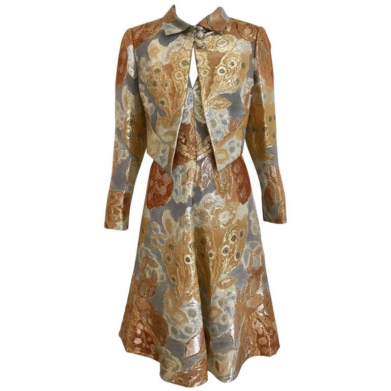1960s Pauline Trigère Gold Metallic Brocade Dress Jacket Set