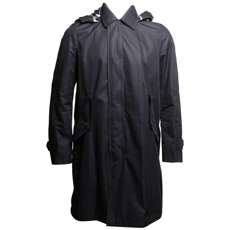 Burberry Detachable Hood Cotton Blend Navy Car Coat