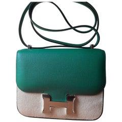 Hermes Bag Constance Vert Vertigo Mini Evercolor Palladium Hardware