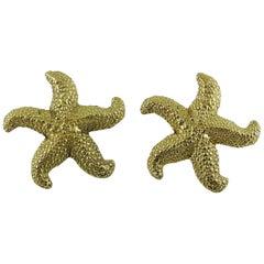 Yves Saint Laurent YSL Vintage Massive Gold Toned Starfish Clip-On Earrings