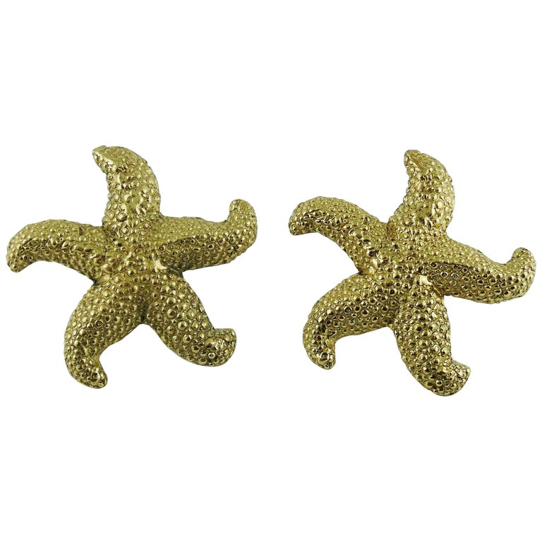 b14c4b7a1b3 Yves Saint Laurent YSL Vintage Massive Gold Toned Starfish Clip-On Earrings  For Sale