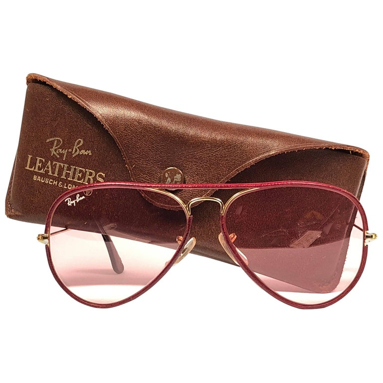 New Vintage Ray Ban Leathers Aviator Burgundy Changeable Lens 58' B&L Sunglasses