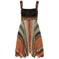 Missoni Multicolor Crochet Knit Beaded Crystal Dress