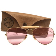 Ray Ban Vintage Aviator Gold Rose Lenses 58Mm B / L Sunglasses, 1970s