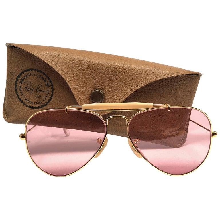 Ray Ban Vintage Aviator Gold Rose Lenses 58Mm B / L Sunglasses, 1970s