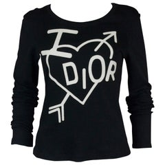 Christian Dior  Cupid Logo Long Sleeve Black T-Shirt, c. 2000's, Size 8 US
