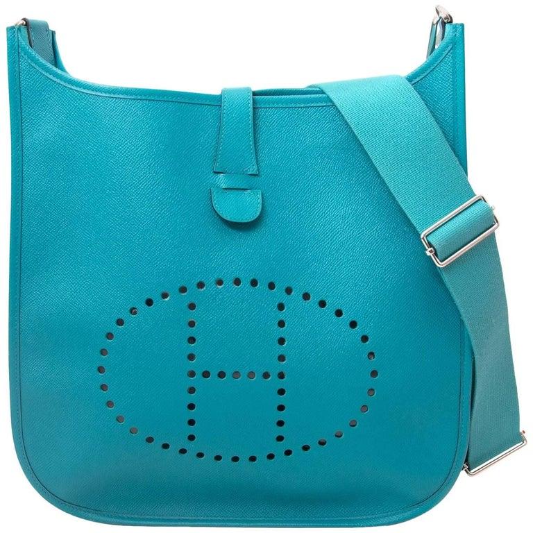 """Hermes Evelyne """"Bleu Paon"""" Veau Epsom Shoulder Bag"""