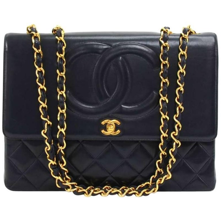 "Vintage Chanel 13"" Jumbo Navy Lambskin Leather Shoulder Classic Flap Bag"