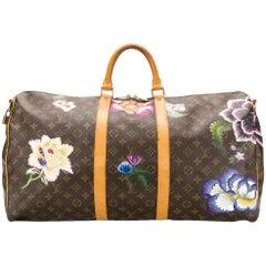 "Customized ""Flowers"" Louis Vuitton Monogram Keepall Bag"