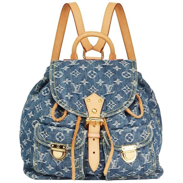 2006 Louis Vuitton Blue Monogram Denim Backpack PM