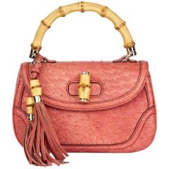 2011 Gucci Ostrich Leather Bamboo Classic Top Handle Bag