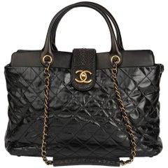 2012 Chanel Black Calfskin Leather, Lambskin & Stingray Large Bindi CC Tote