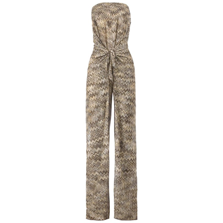 Missoni Strapless Crochet Knit Wide Open Leg Belted Jumpsuit Overall