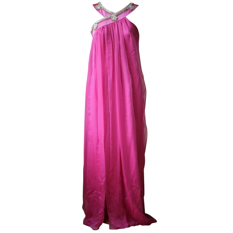 Christian Dior Vintage Haute Couture Silk Embellished Gown For Sale ...