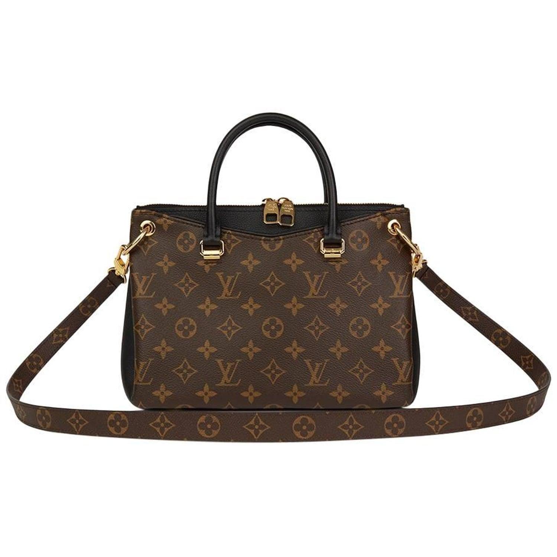 61b2a569e94 2017 Louis Vuitton Brown Monogram Canvas & Black Calfskin Leather Pallas BB