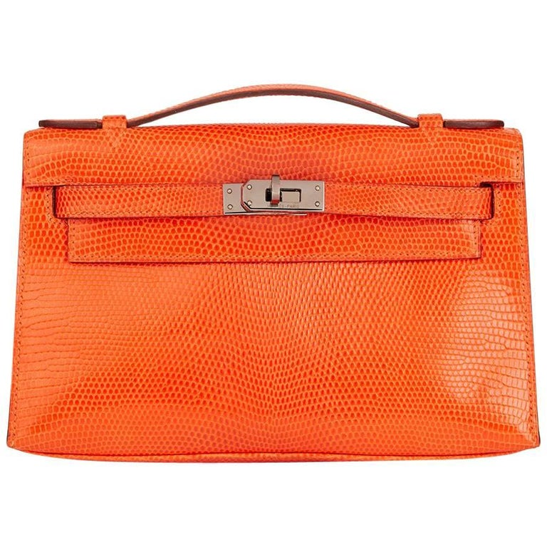8d2b1ea3c5b 2006 Hermes Orange Lizard Leather Kelly Pochette For Sale.