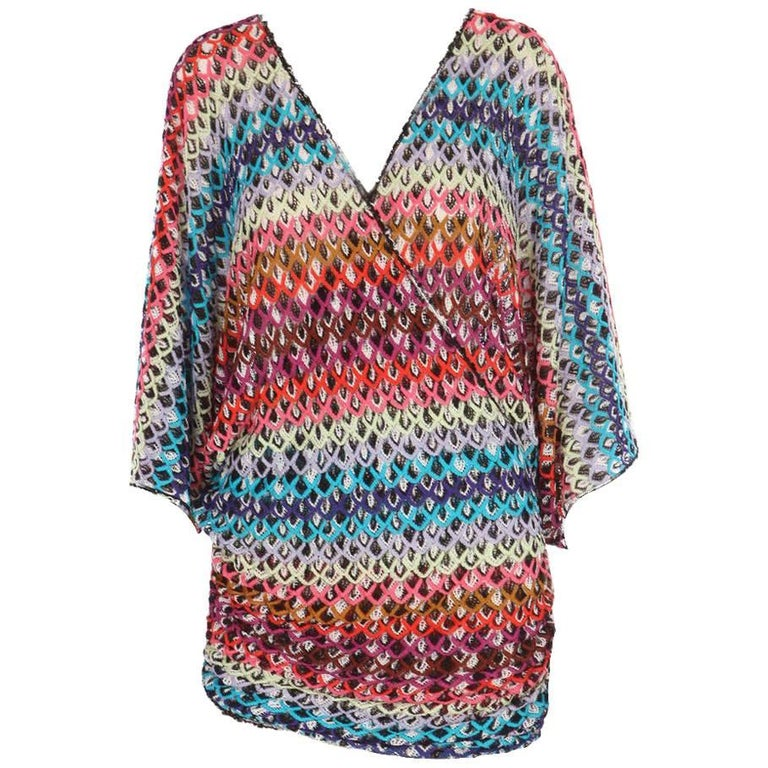 4b522053ba6 Missoni Multicolor Crochet Knit Mini Kaftan Tunic Dress Cover Up For Sale