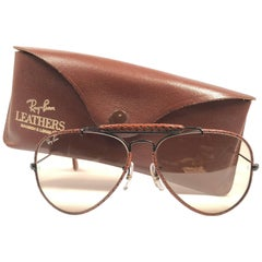 New Vintage Ray Ban Leathers Outdoorsman Braid Woven Leather 58' B&L Sunglasses