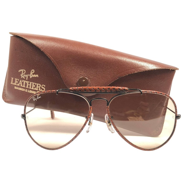 b36f00108c23 New Vintage Ray Ban Leathers Outdoorsman Braid Woven Leather 58  B L  Sunglasses For Sale