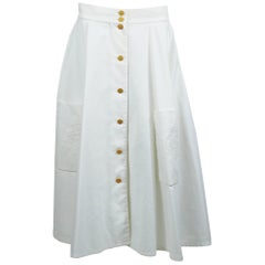 Hermes Vintage White Cotton Circle Skirt with Ex-Libris Embroideries