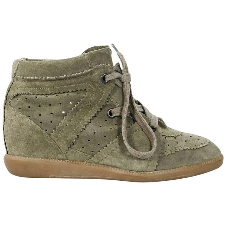 Taupe Isabel Marant Bobby High-Top Sneakers
